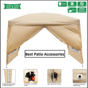 10 x 10 ft Outdoor Waterproof Folding Pop Up Canopy Tent Patio Pavilion Gazebo